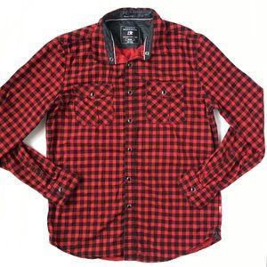 Cactus Menswear Red Black Plaid Button Down Shirt